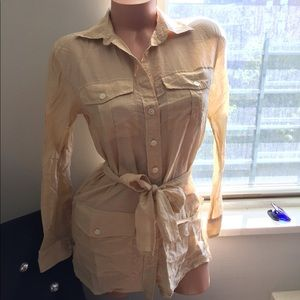 Ralph Lauren button up shirt with waist tie XXS